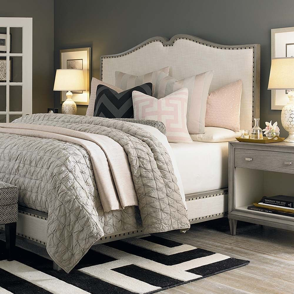 Best Grey Walls Cream Headboard Bassett Need Bedroom With Pictures