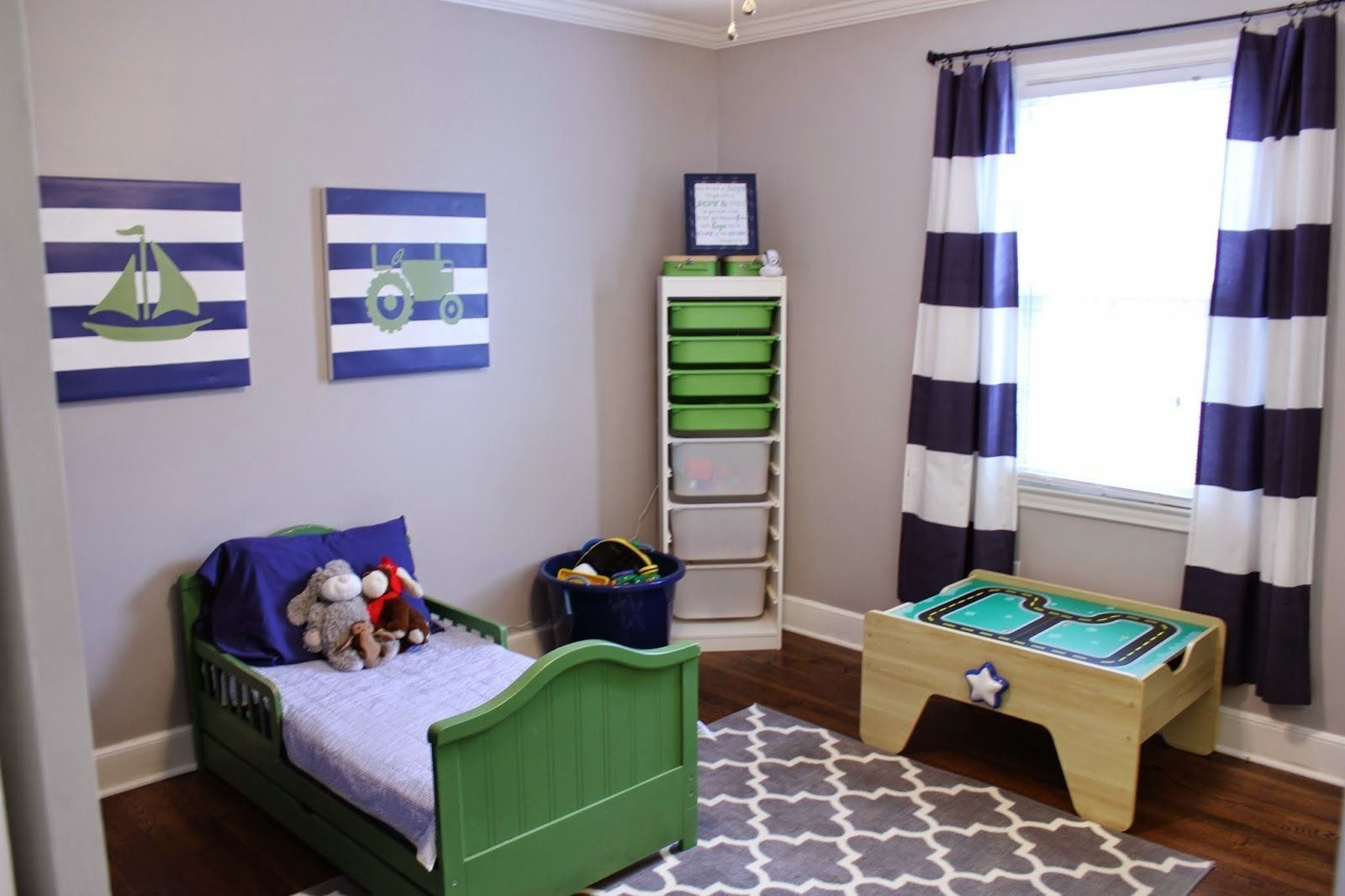 Best Navy Blue Green Toddler Boy Bedroom Transportation With Pictures