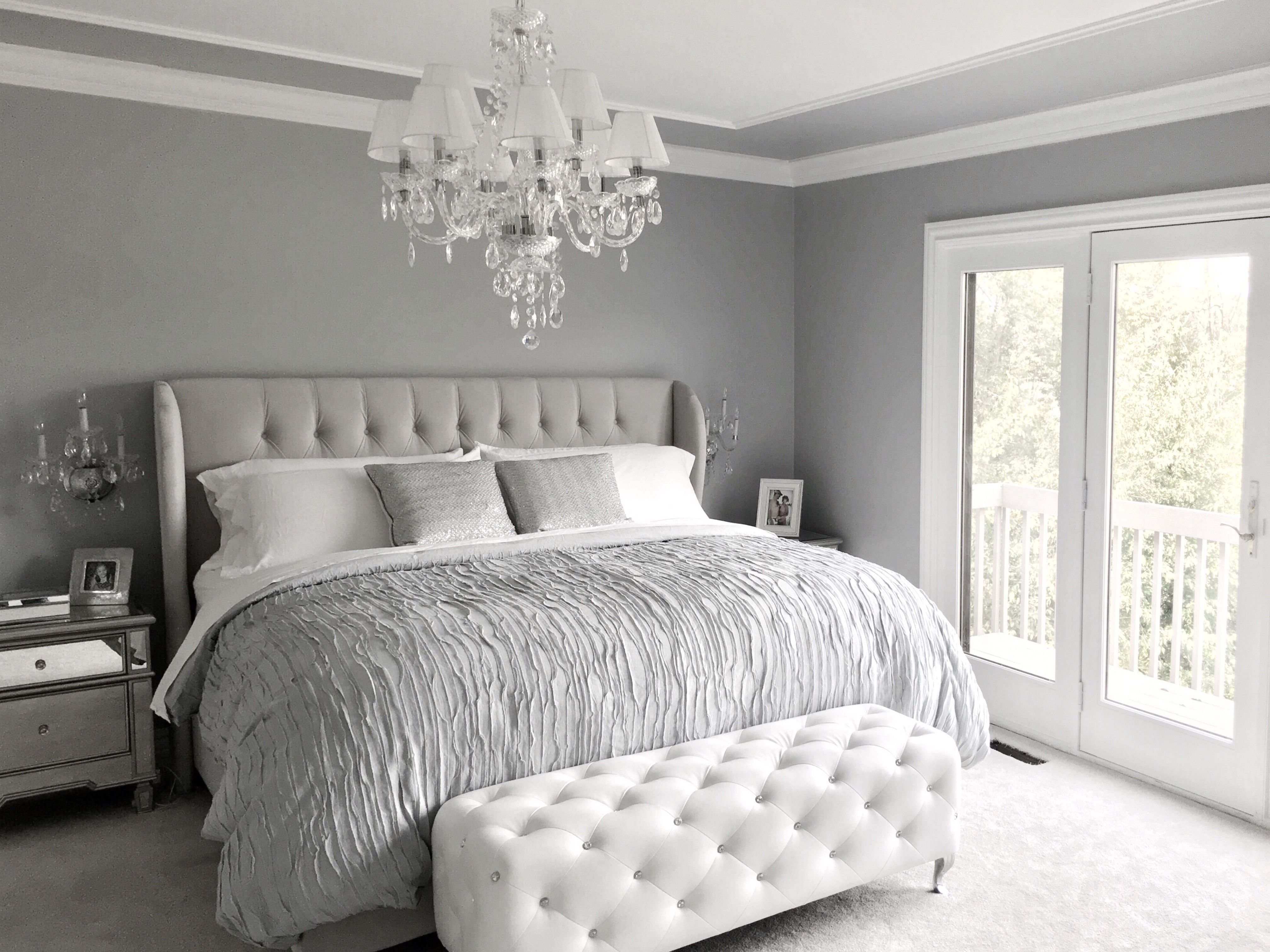 Best Glamorous Grey Bedroom Decor Grey Tufted Headboard With Pictures