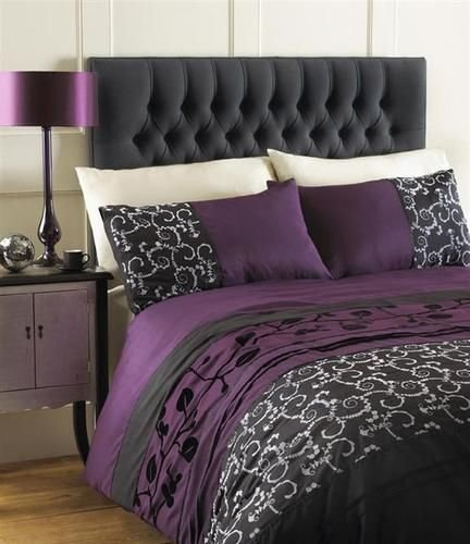 Best Aubergine Plum Black Grey Double Duvet Quilt Cover Bed Set Ebay Home Sweet Home With Pictures