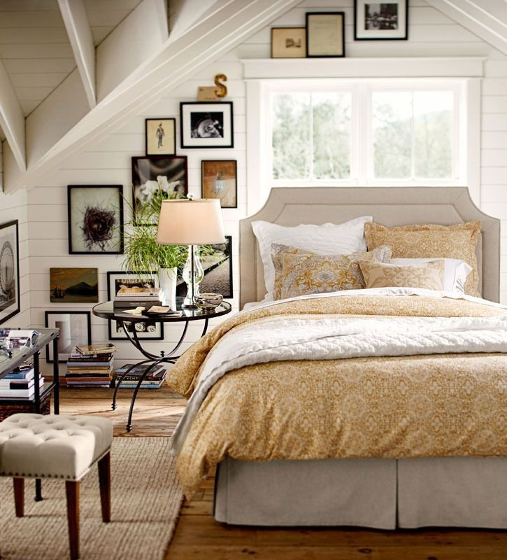 Best Warm White And Soft Golden Yellow Bedroom Exposed Vaulted With Pictures