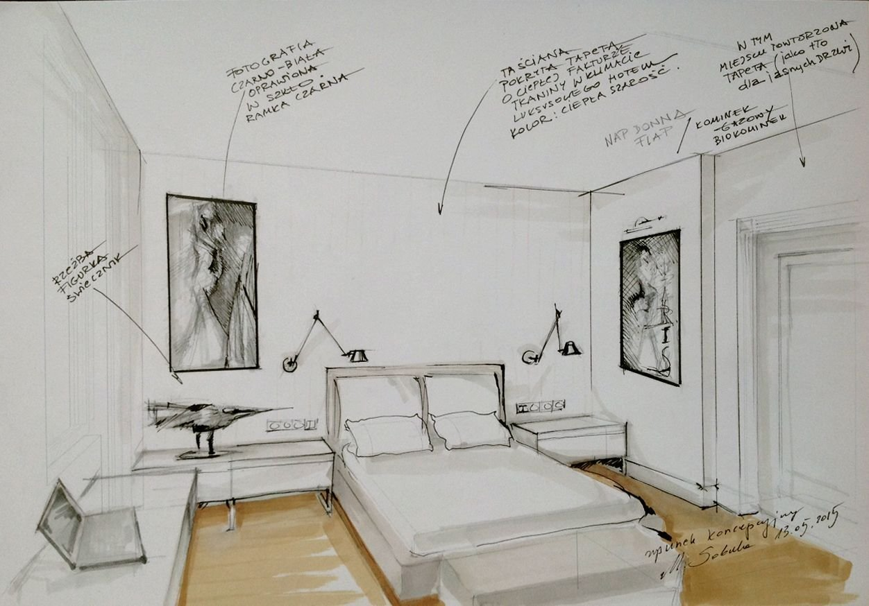 Best Interior Conceptual Sketch Bedroom Sketch By Magdalena Sobula Pe2 Interior Sketches And With Pictures