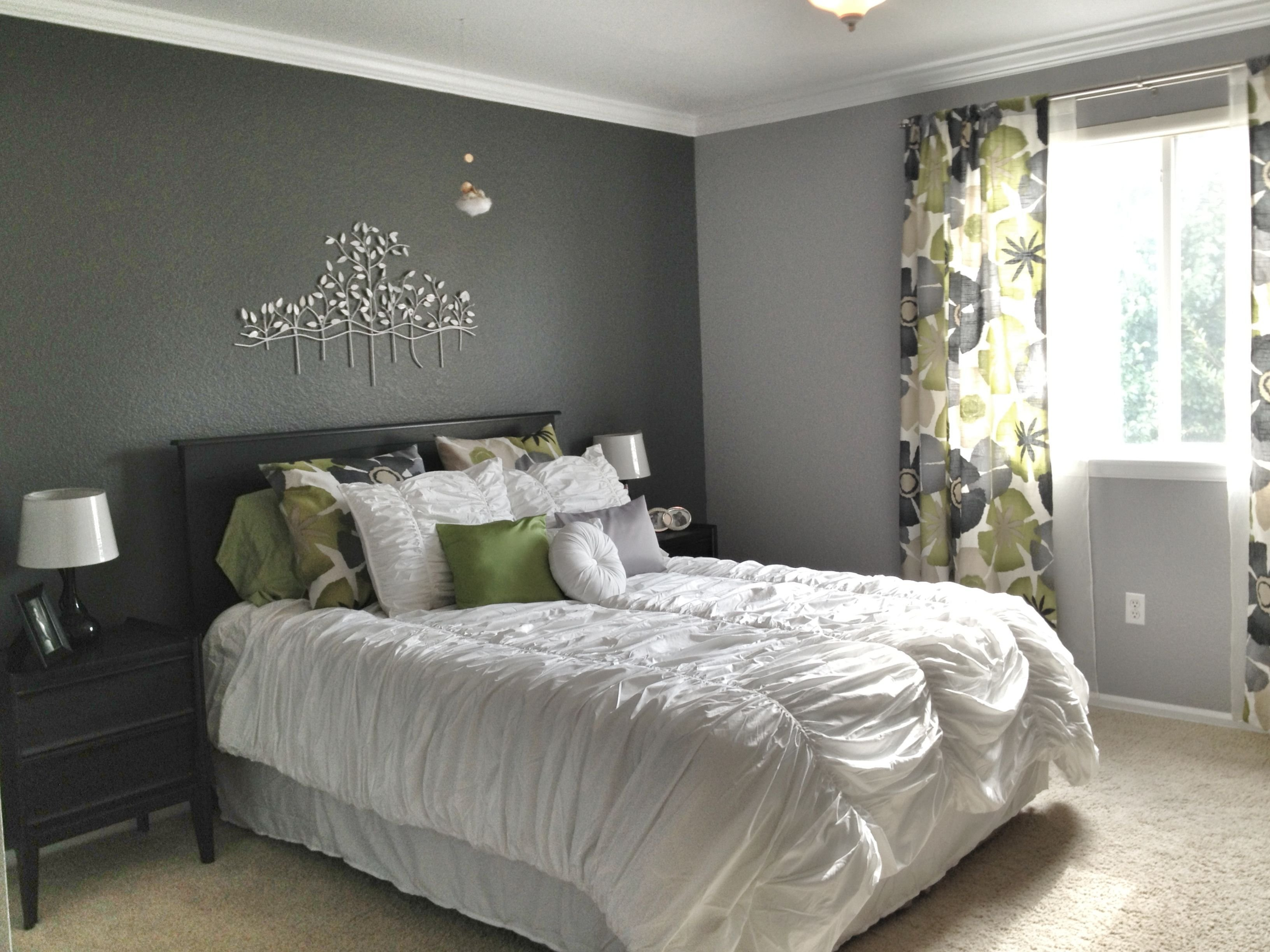 Best Grey Master Bedroom Dark Accent Wall Fun Patterned With Pictures