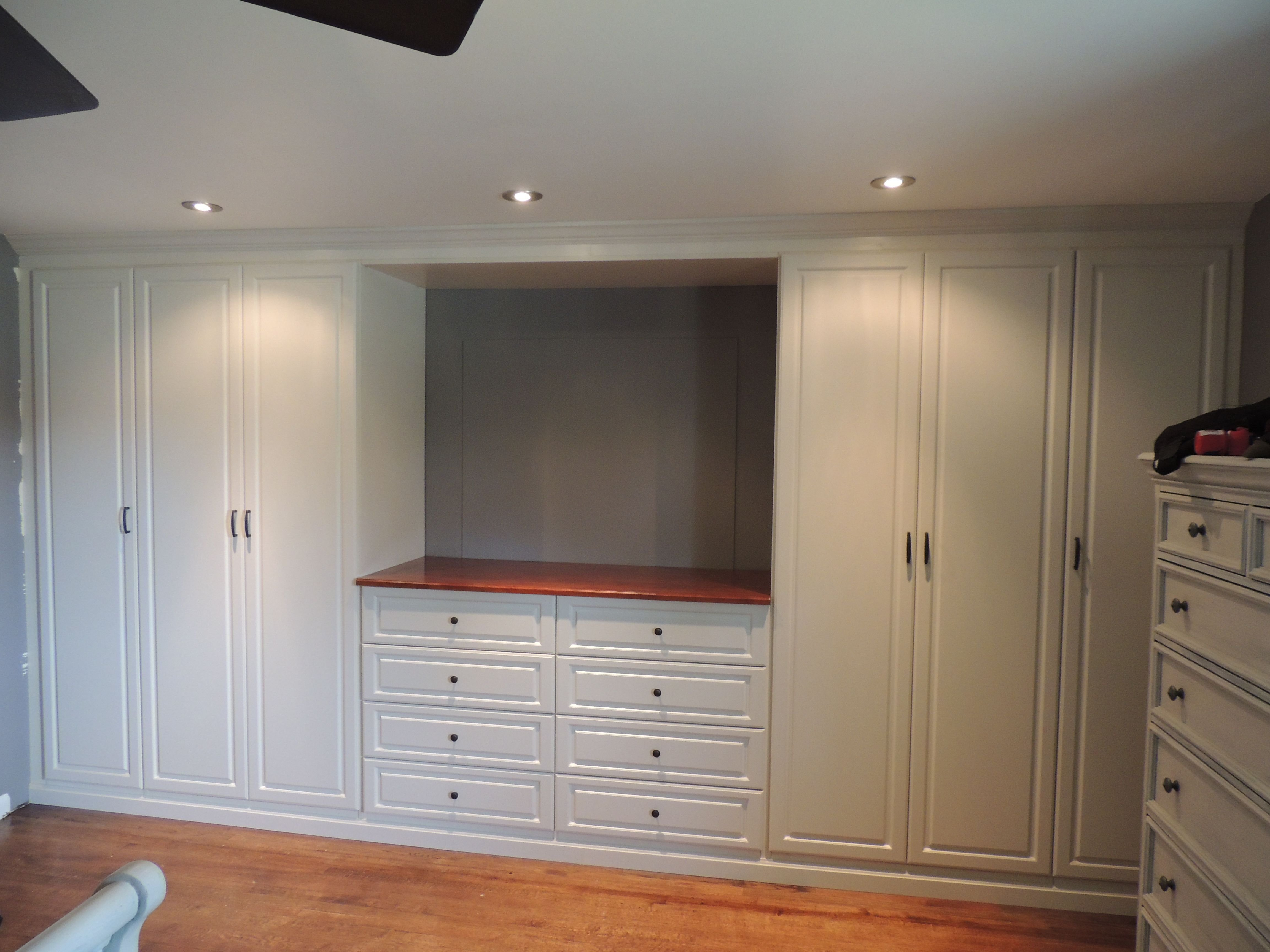 Best Custom White Wall Unit In A Master Bedroom Wall Units With Pictures
