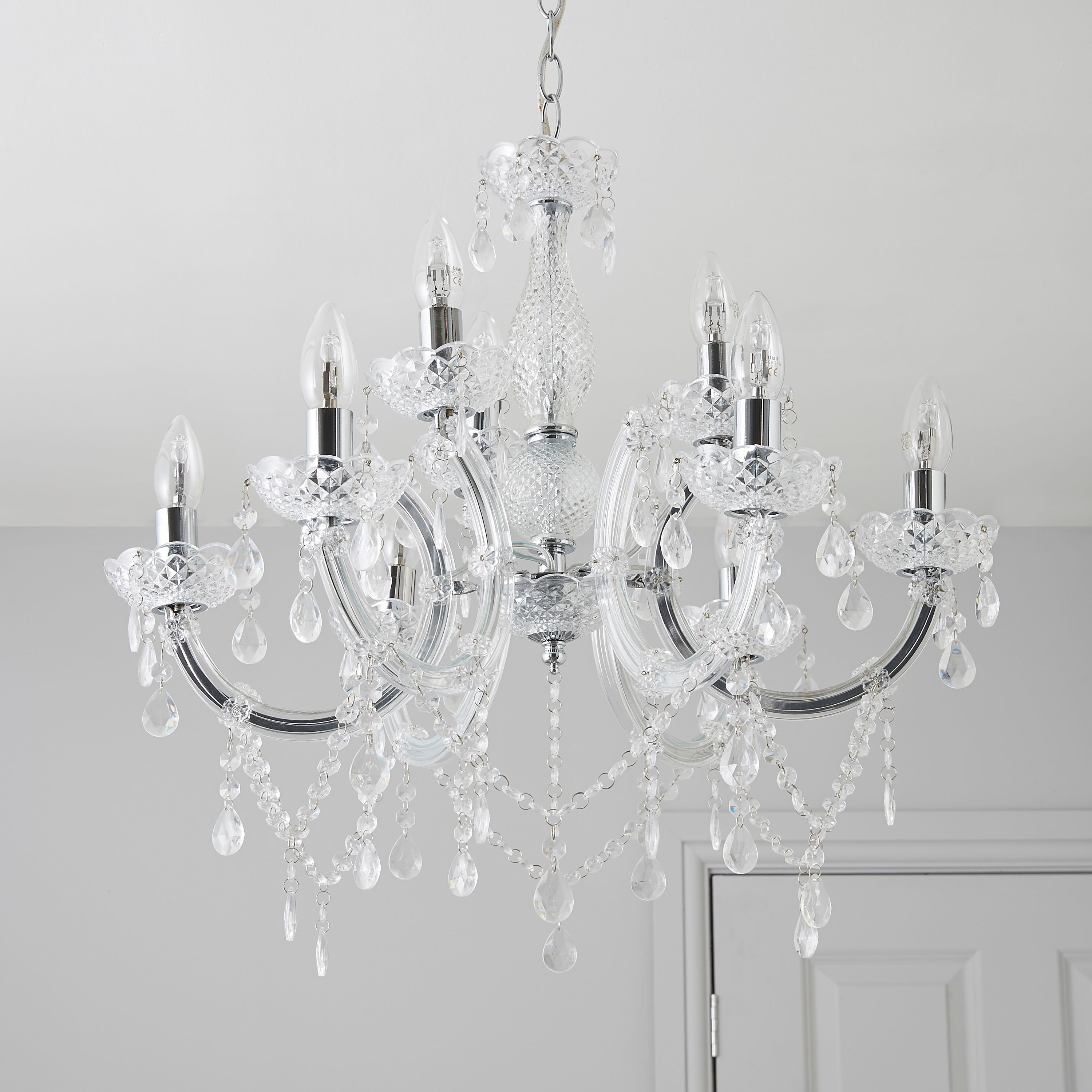 Best Annelise Crystal Droplets Silver 9 Lamp Pendant Ceiling Light Ceiling Bedrooms And Room With Pictures