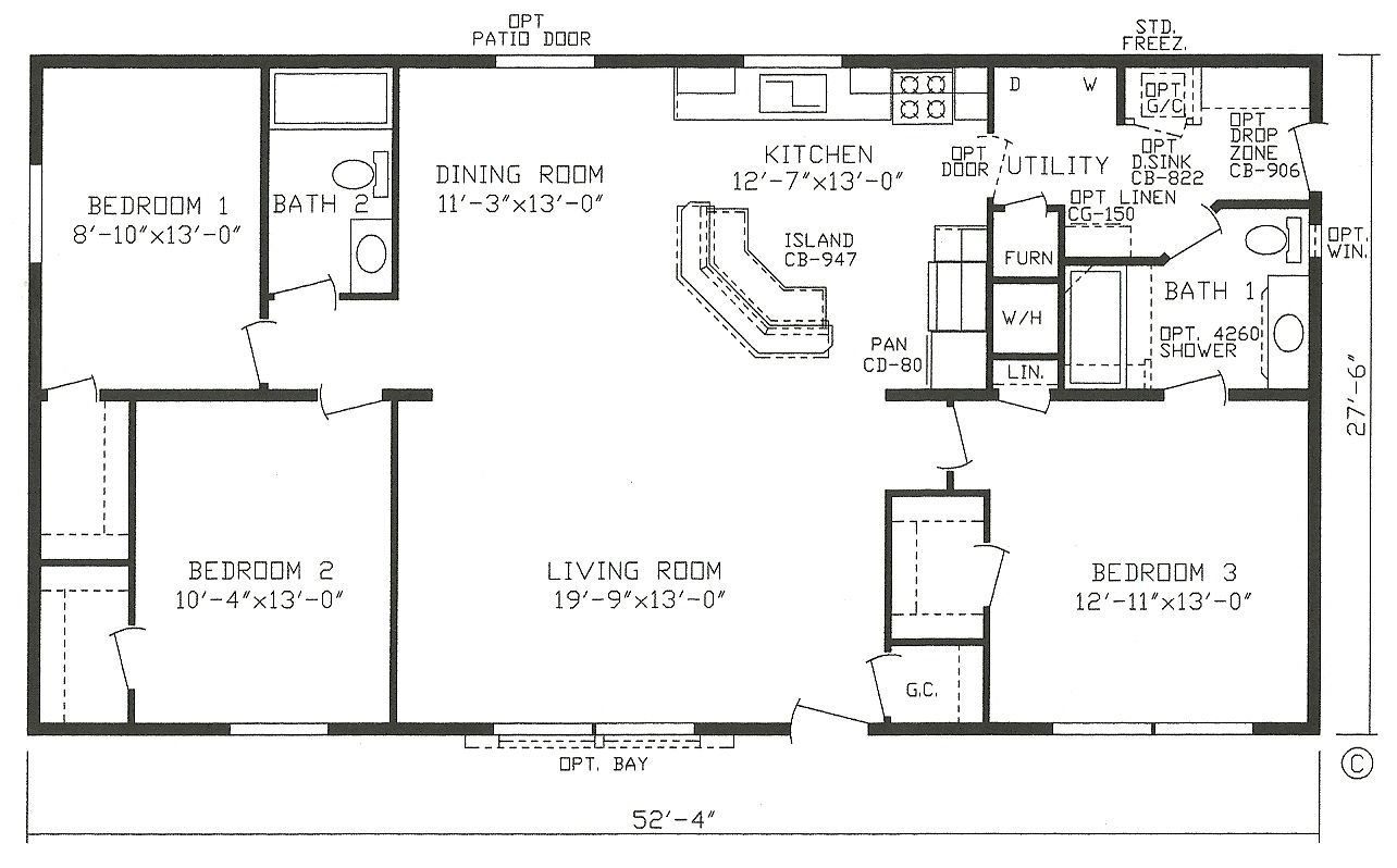 Best Mobile Home Blueprints 3 Bedrooms Single Wide 71 Northern Advantage Manufactured Homes By With Pictures