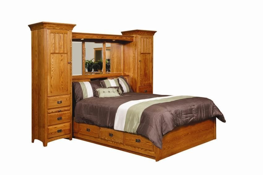 Best Amish Monterey Pier Wall Bed Unit With Platform Storage With Pictures