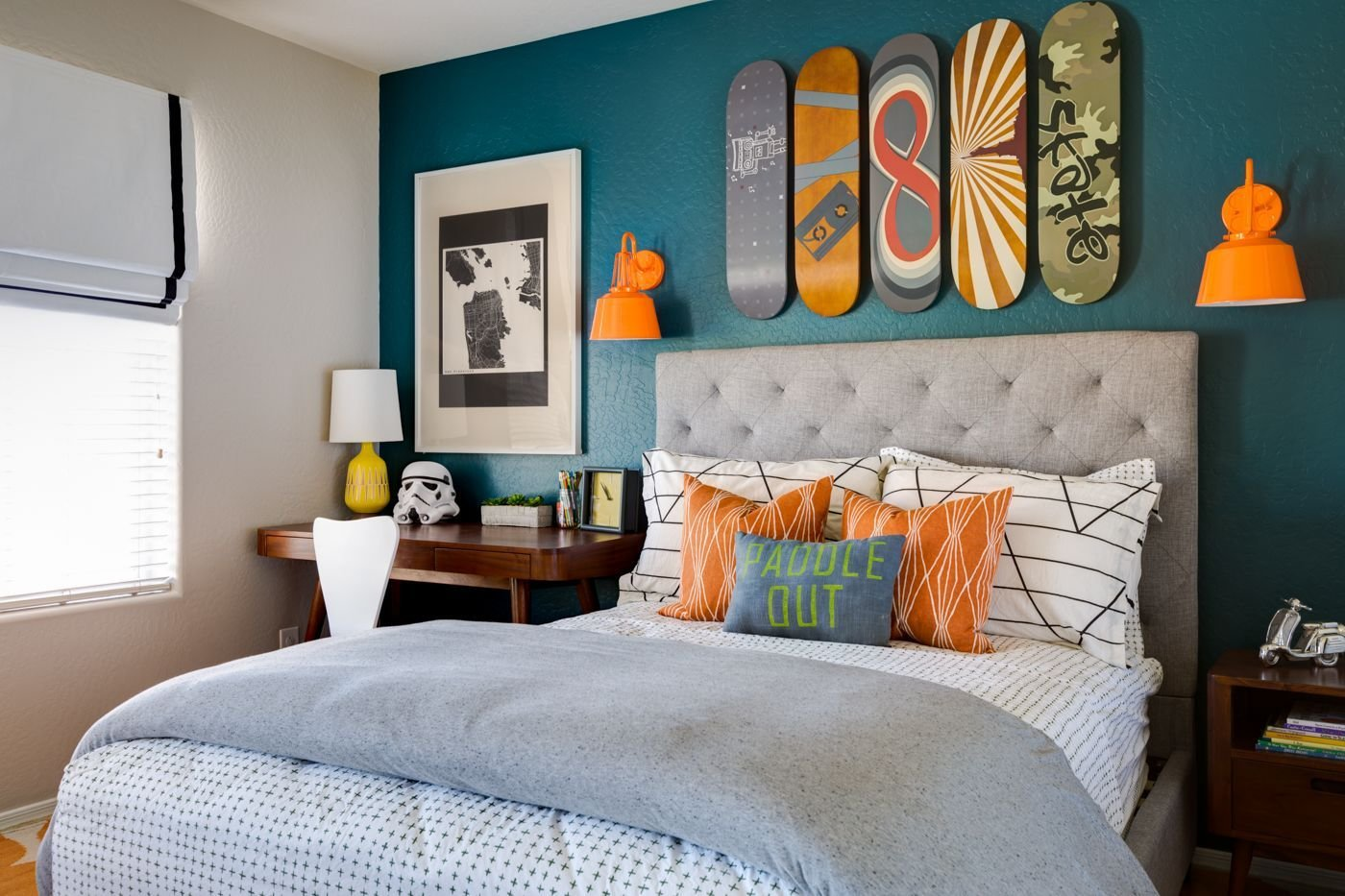 Best Project Nursery Teal And Orange Skateboarding Bedroom With Pictures