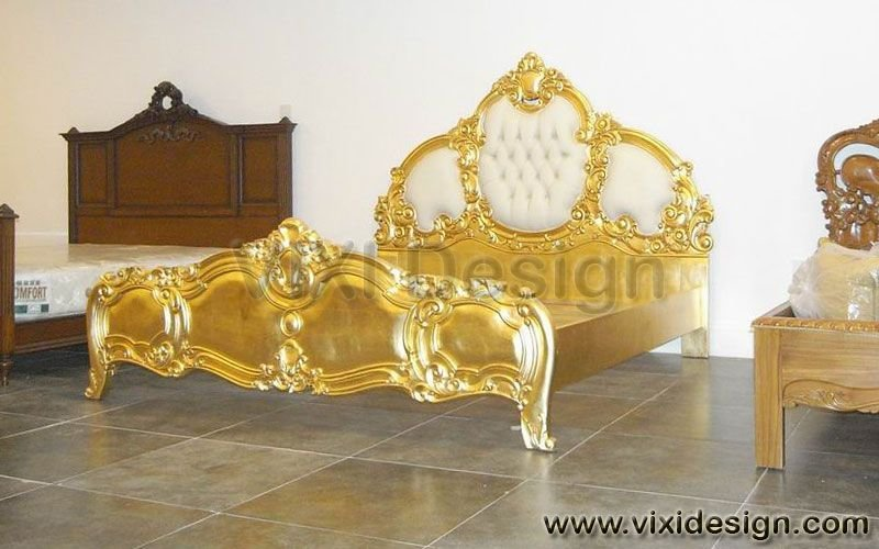 Best Italian Tufted Gold Leaf Furniture Bedroom Luxury With Pictures