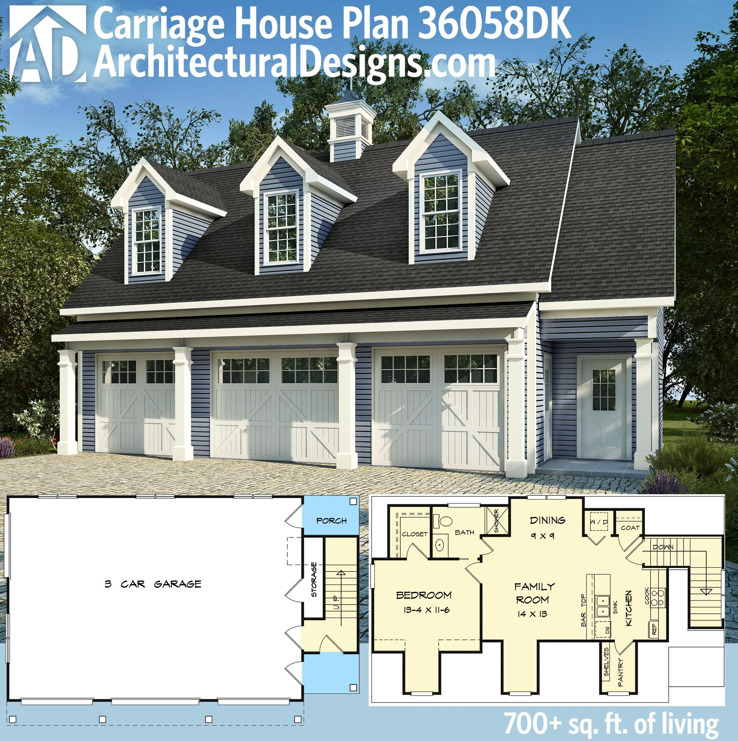 Best Plan 36058Dk 3 Car Carriage House Plan With 3 Dormers With Pictures