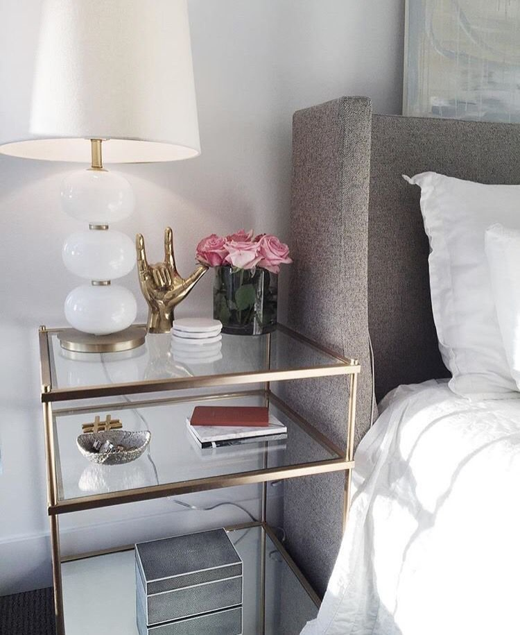Best Side Table Clear Glass With Brass Accents Chic And With Pictures