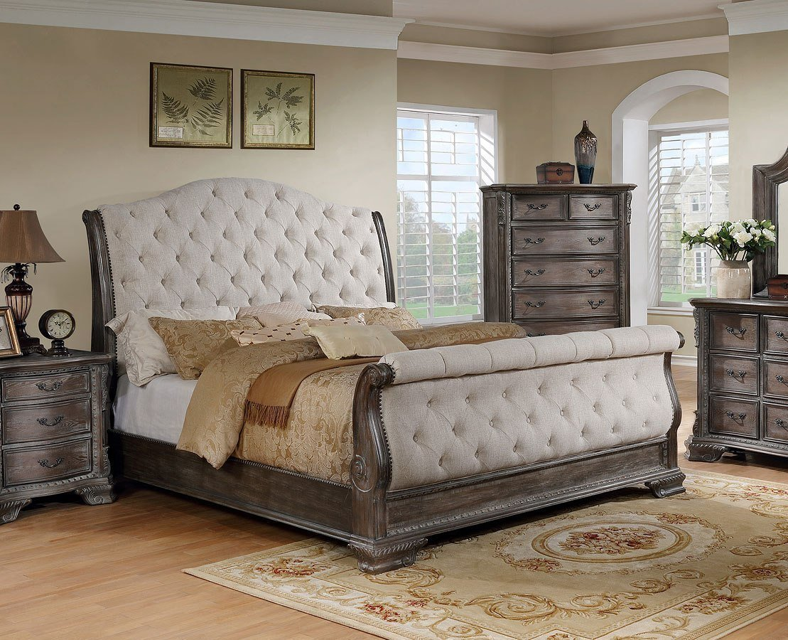 Best Sheffield Upholstered Sleigh Bedroom Set Antique Grey By With Pictures