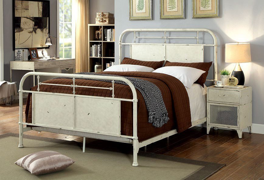 Best Haldus Metal Bedroom Set Distressed White By Furniture With Pictures