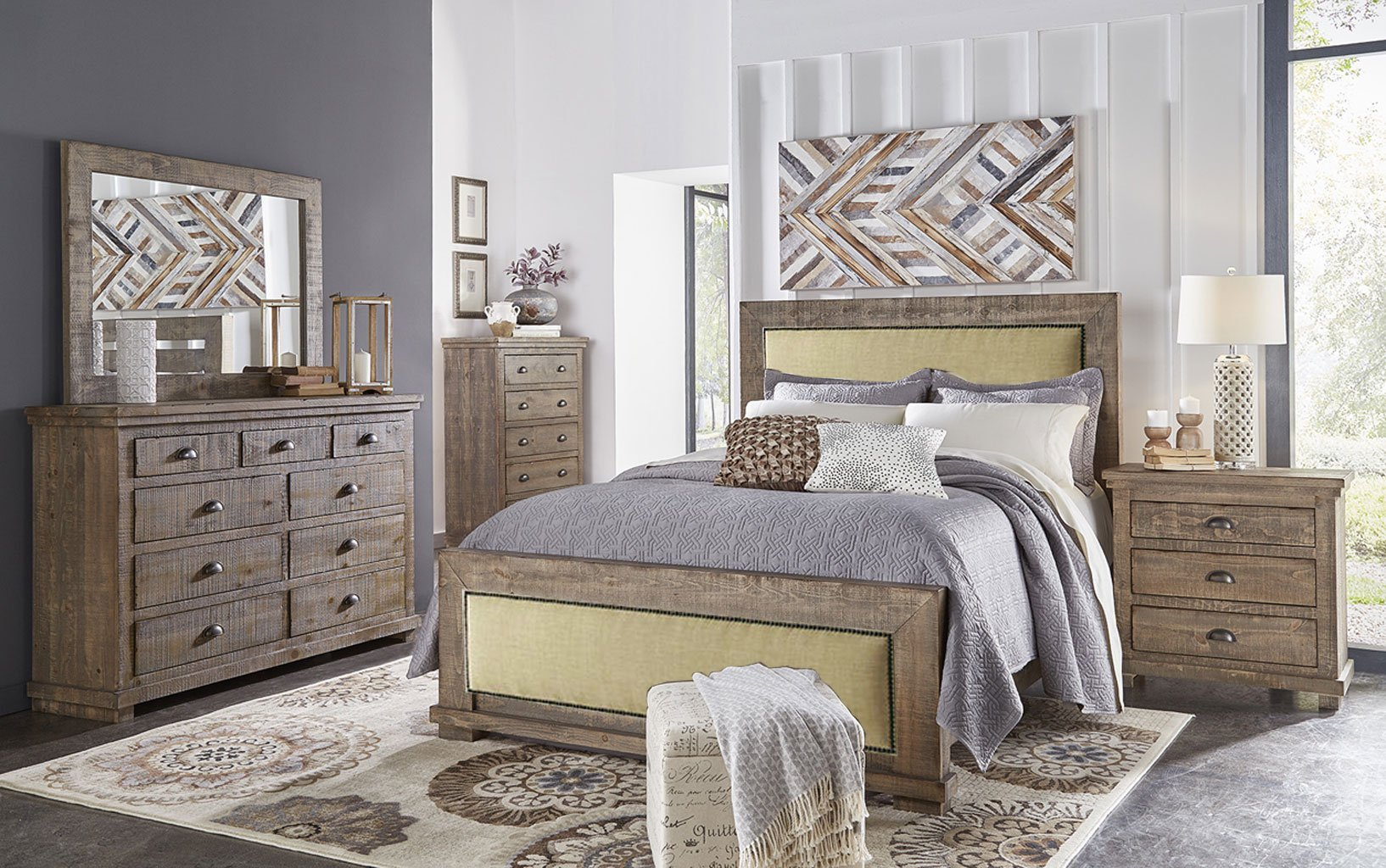 Best Willow Upholstered Bedroom Set Weathered Grey With Pictures