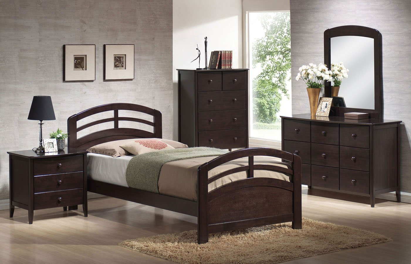 Best San Marino Panel Bedroom Set Dark Walnut Acme Furniture With Pictures