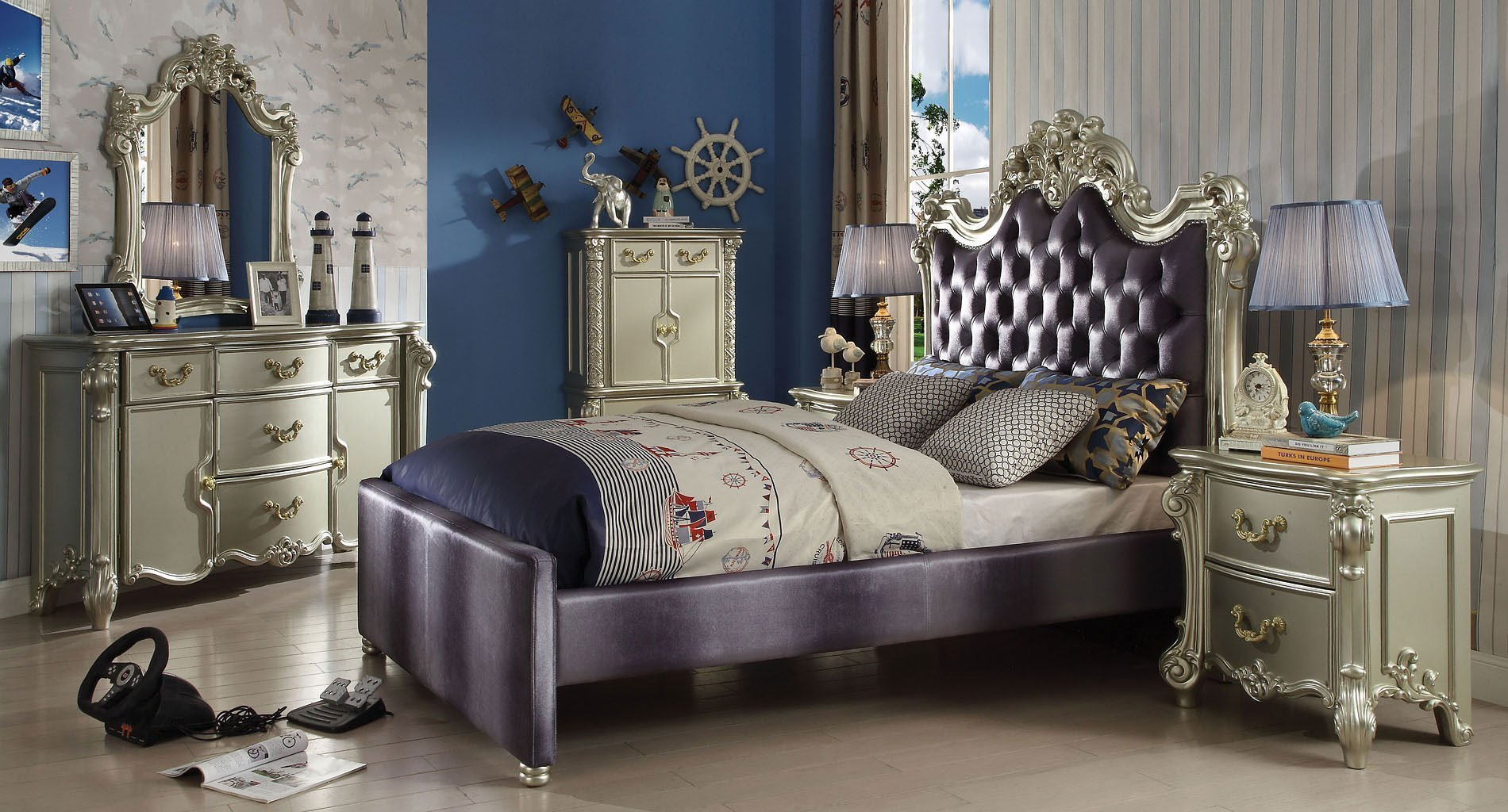 Best Vendome Youth Upholstered Bedroom Set Acme Furniture With Pictures