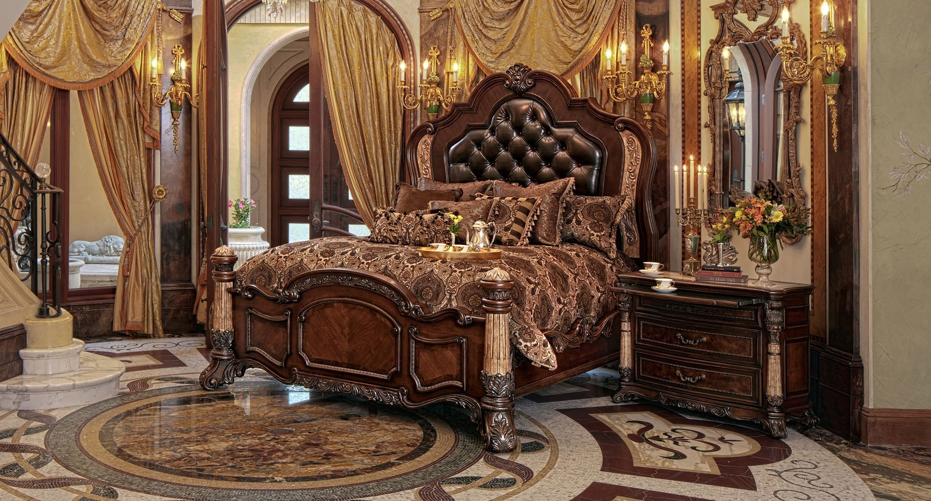 Best Victoria Palace Panel Bedroom Set Aico Furniture With Pictures