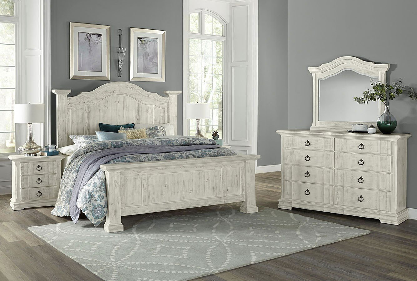 Best Rustic Hills Poster Bedroom Set Weathered White Vaughan Bassett Furniture Cart With Pictures