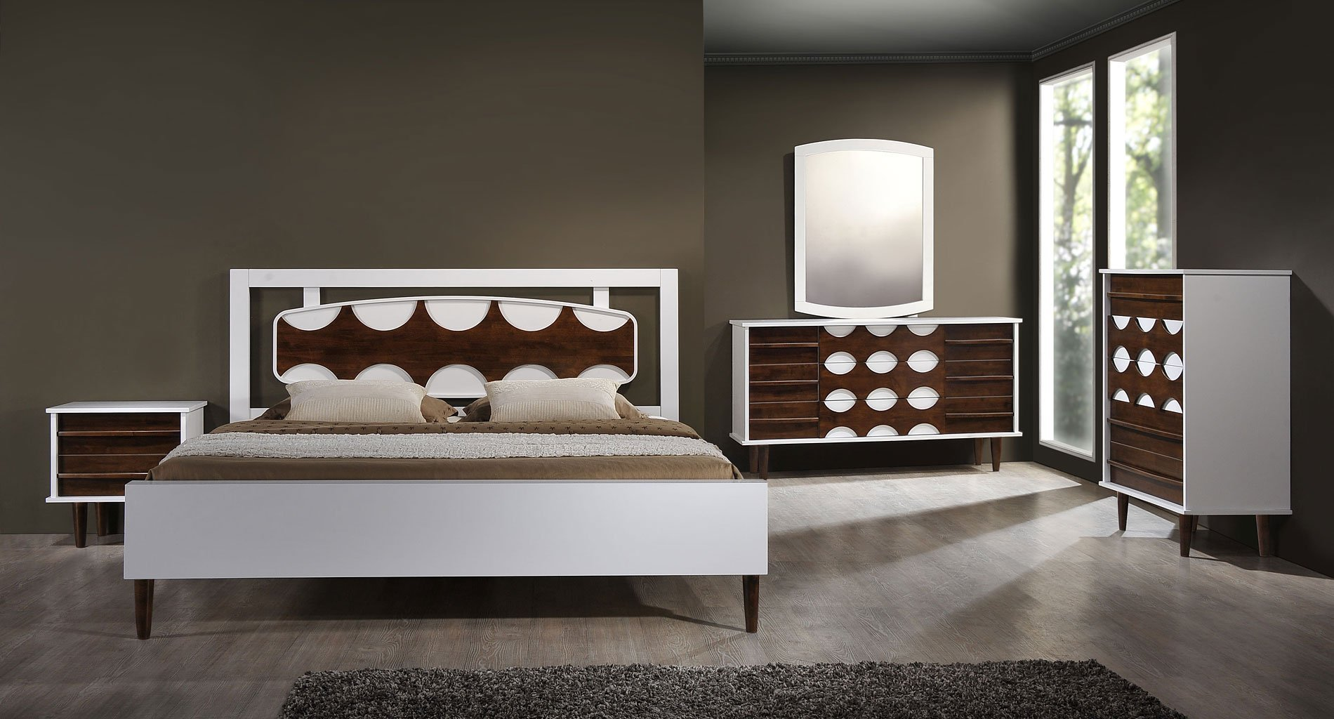 Best Seattle Panel Bedroom Set Walnut And White Zuo Modern With Pictures