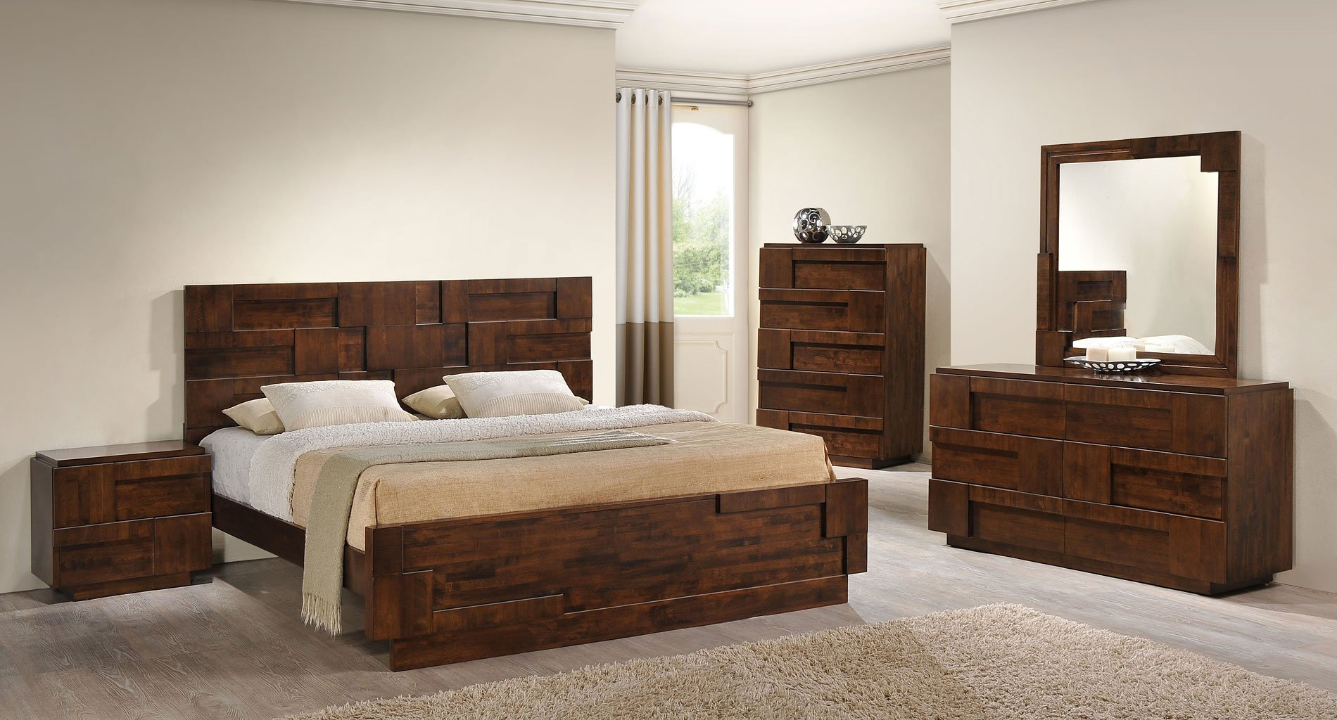 Best San Diego Panel Bedroom Set Walnut Zuo Modern Furniture Cart With Pictures