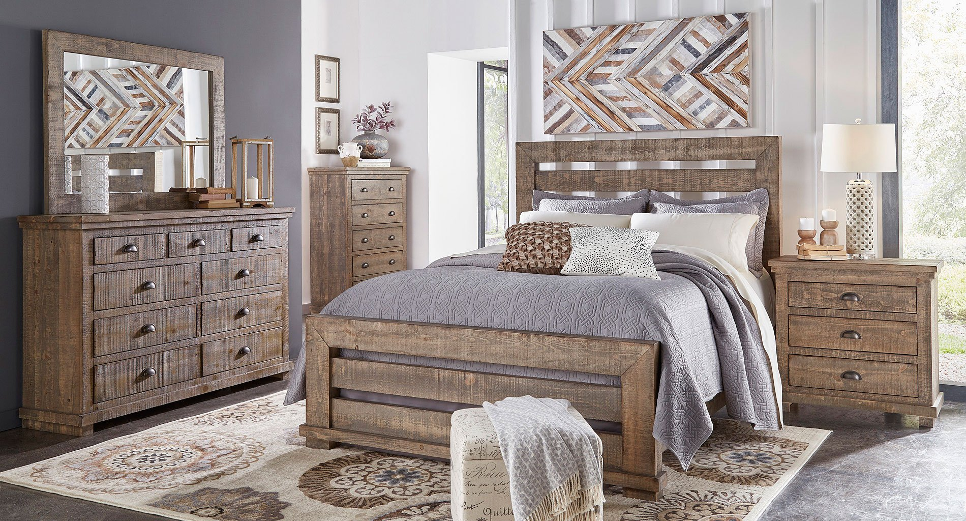 Best Willow Slat Bedroom Set Weathered Grey Progressive With Pictures