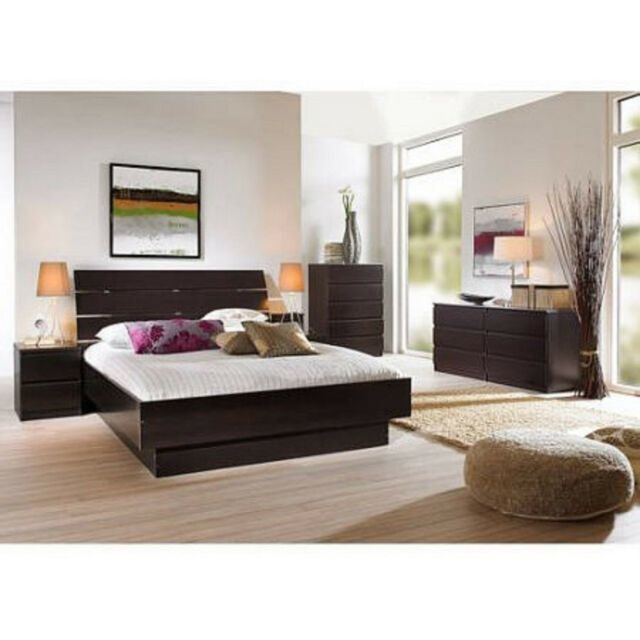 Best 4 Pcs Queen Bedroom Furniture Set Headboard Bed Platform With Pictures