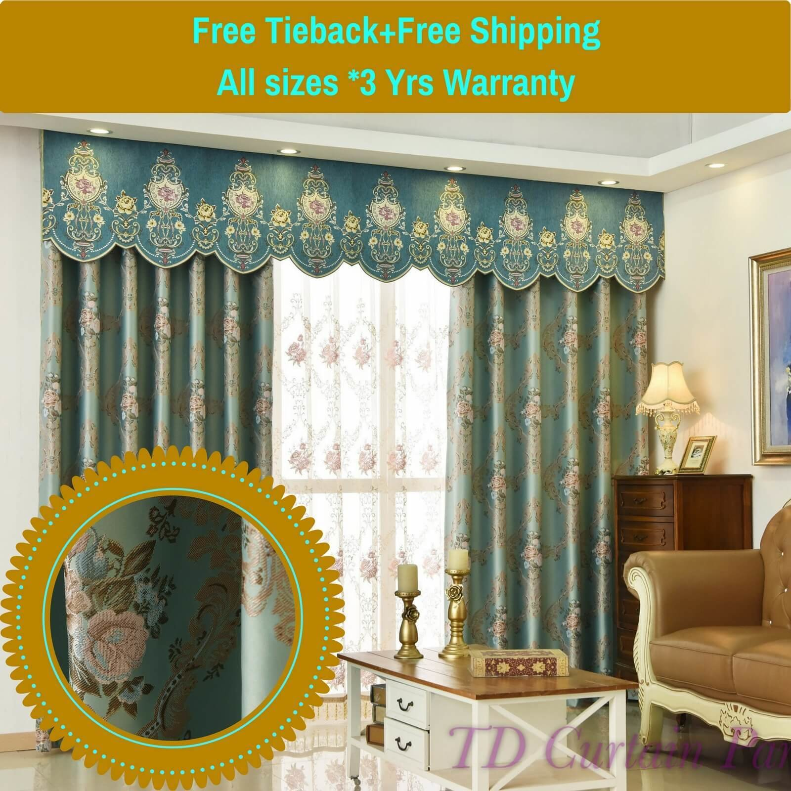 Best Swag Valance Pelmet Blockout Drapes Blue Bedroom Net With Pictures