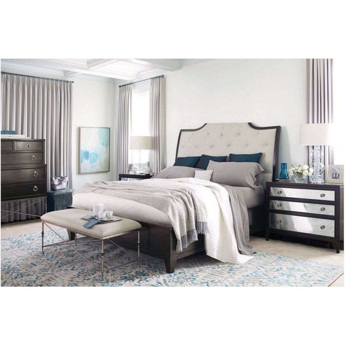Best Bernhardt Sutton House Upholstered Sleigh Bedroom Set With Pictures