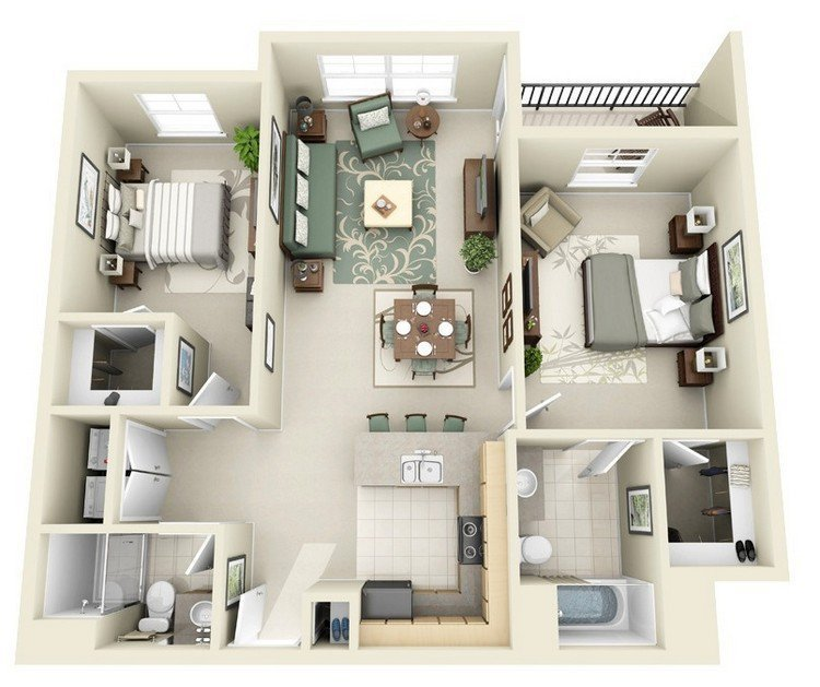 Best 20 Awesome 3D Apartment Plans With Two Bedrooms Part 2 With Pictures