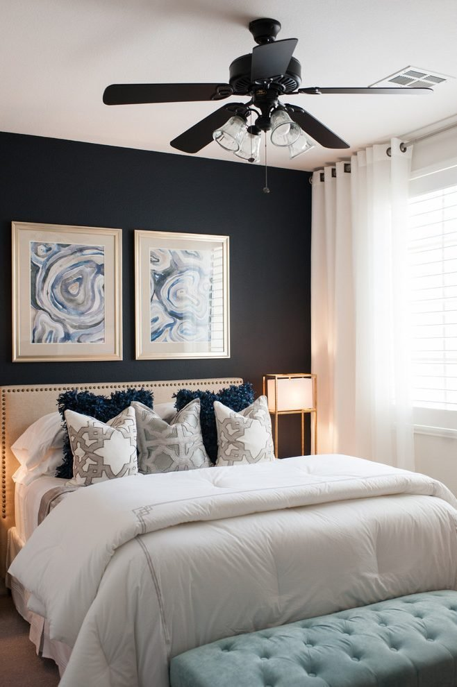 Best Dark Accent Wall Bedroom Transitional With Dark Blue Walls Bedroom Contemporary Ceiling Fans5 With Pictures