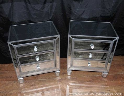 Best Pair Mirrored Bedside Chests Nightstands Chest Drawers With Pictures