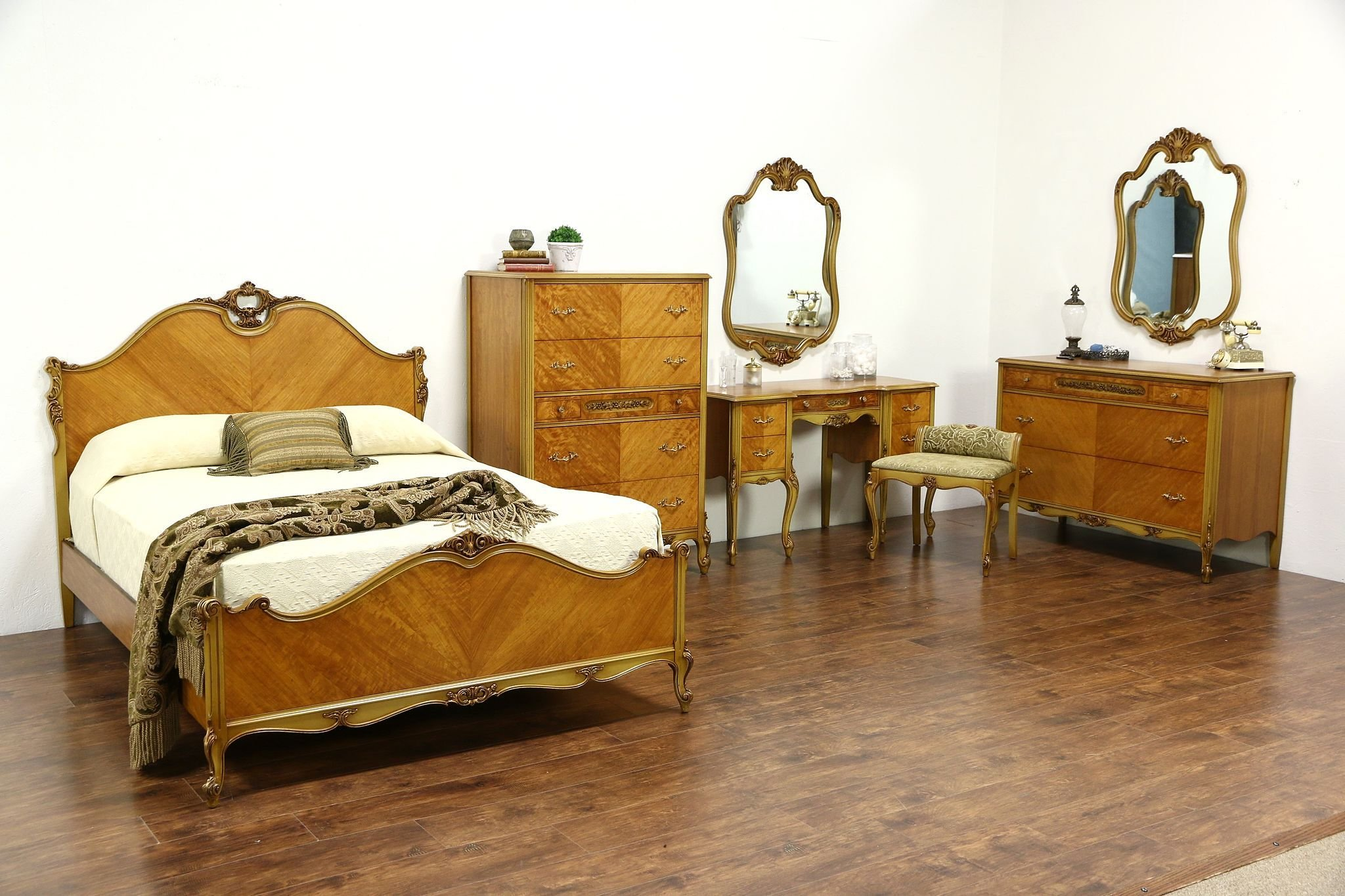 Best Sold French Design 1940 S Vintage Satinwood 7 Pc With Pictures