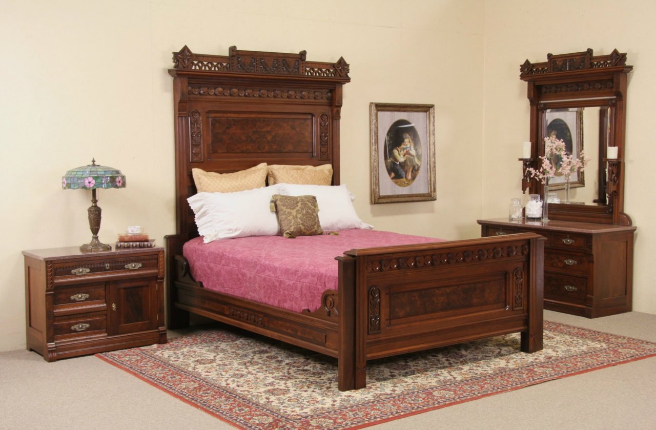 Best Sold Eastlake Antique Queen Bedroom Set Chest With With Pictures