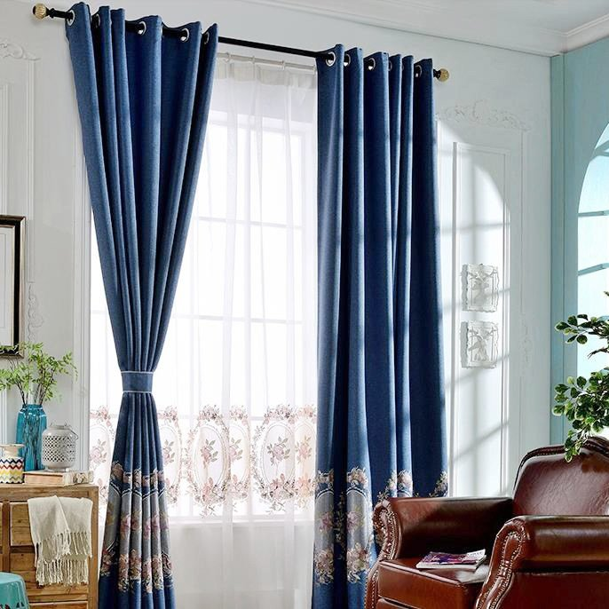 Best European Style Dark Blue Linen And Cotton Floral With Pictures