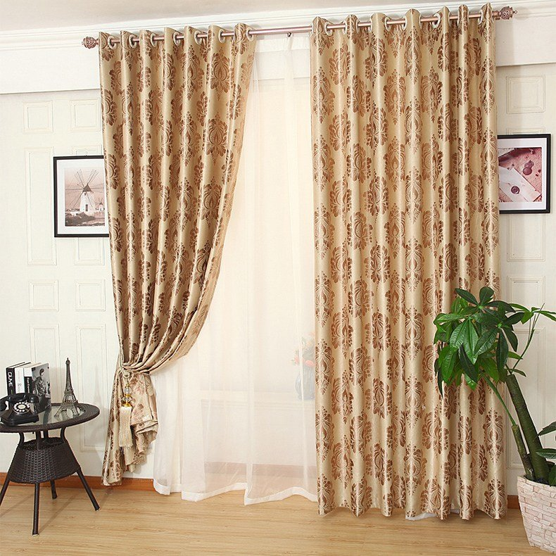 Best Gold Patterned Jacquard Polyestser Luxury Bedroom Curtains On Sale With Pictures