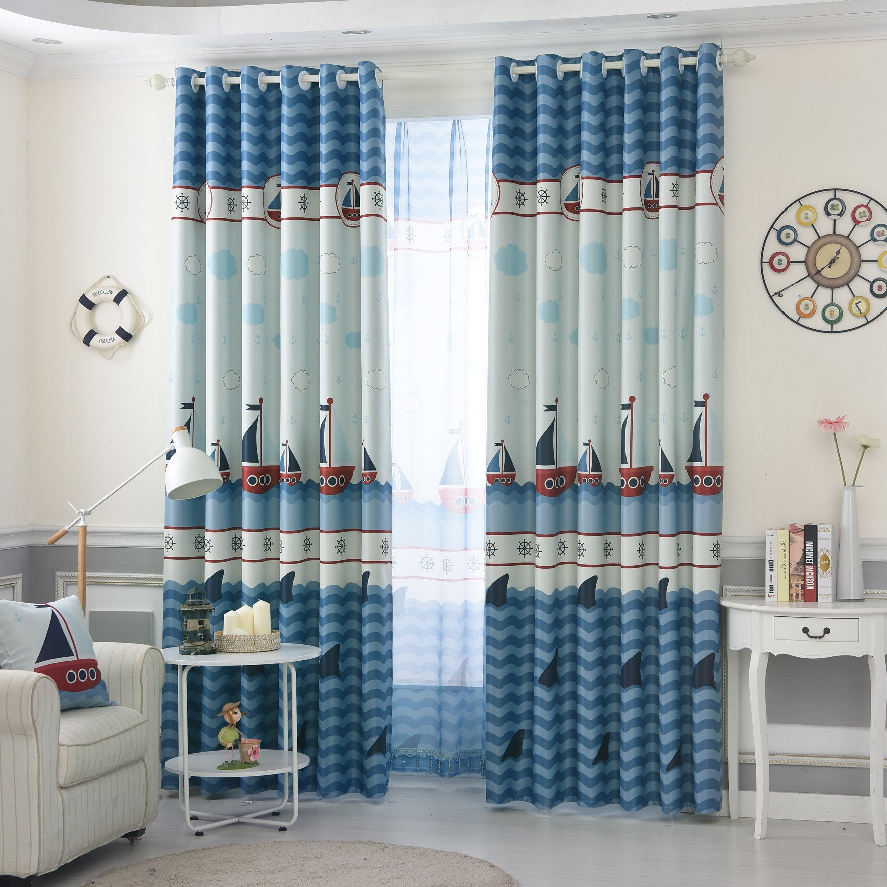 Best Blue Nautical Dreamy Window Curtains For Boys Bedroom With Pictures