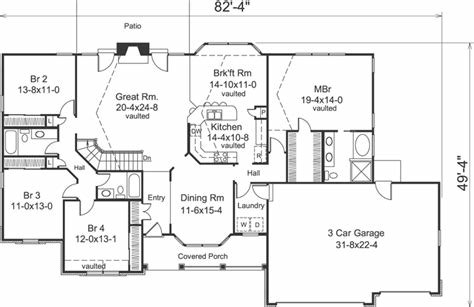 Best Ranch House Plan 4 Bedrooms 3 Bath 2322 Sq Ft Plan 77 299 With Pictures