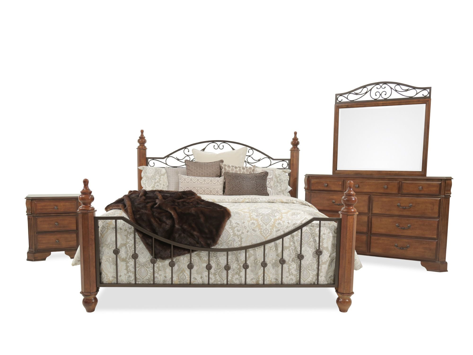 Best Four Piece Country Bedroom Set In Cherry Mathis Brothers With Pictures