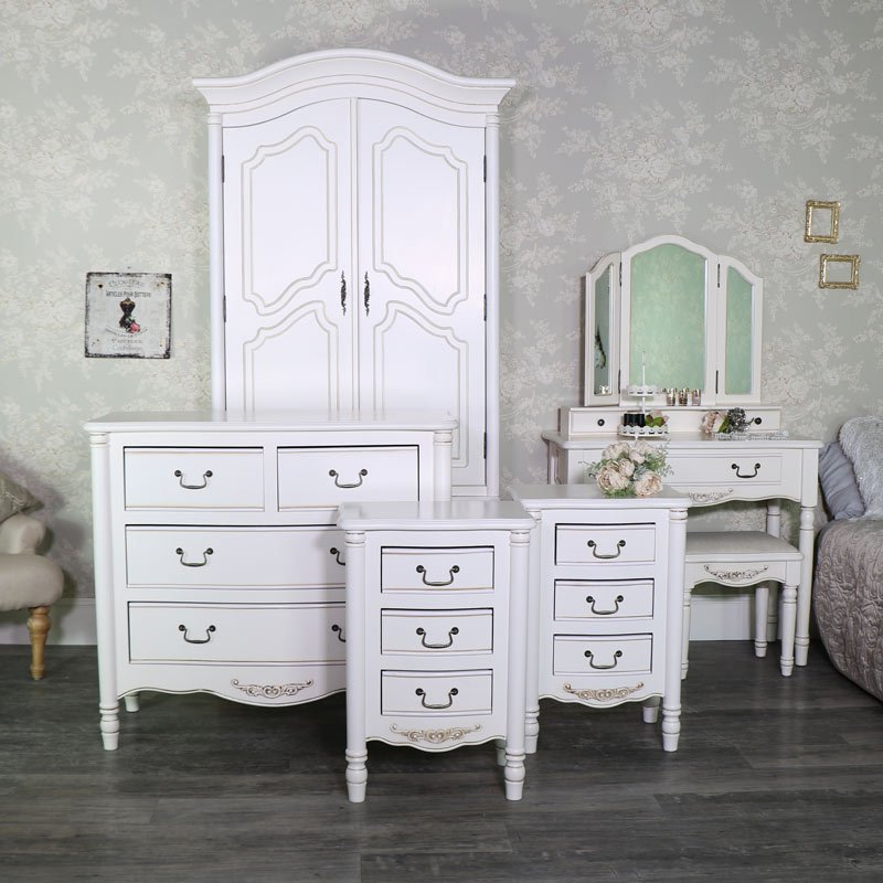 Best Cream Bedroom Furniture Double Wardrobe Chest Of Drawers Dressing Table Set Pair Of Bedside With Pictures
