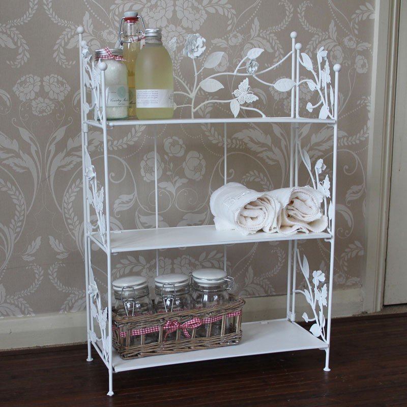 Best Cream Rose Butterfly Metal Shelf Unit Bathroom Bedroom With Pictures