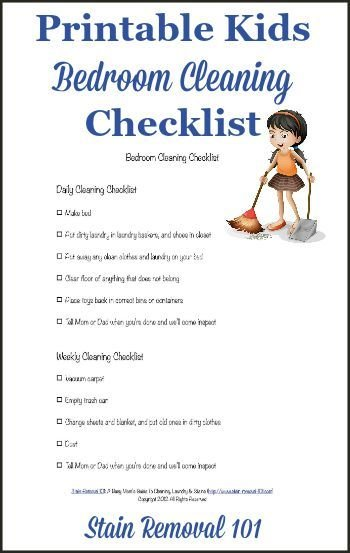 Best Bedroom Cleaning Checklist Help Kids Know Expectations With Pictures