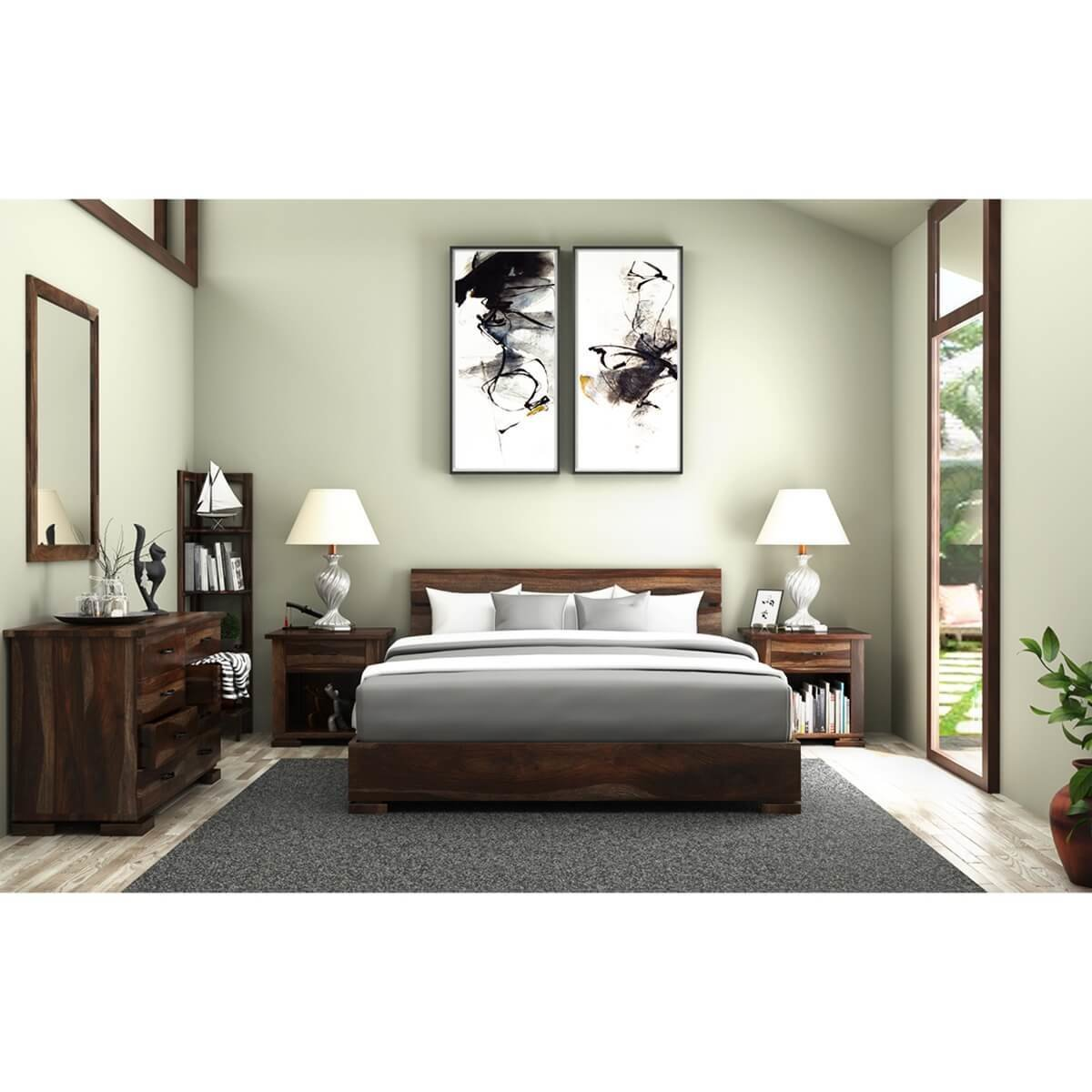 Best Athena Full Size Platform Bed 5 Piece Solid Wood Bedroom Set With Pictures