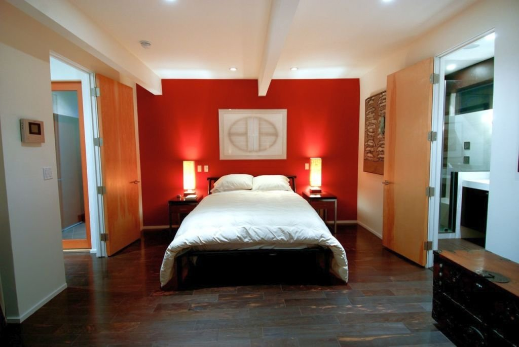 Best Modern Mens Bedroom With Red Accent Wall With Pictures