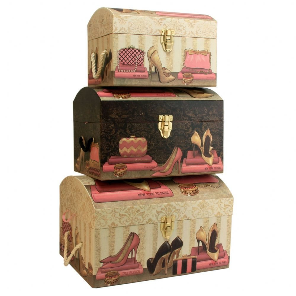 Best Set Of 3 Large Pretty Storage Trunks Decorative Bedroom With Pictures