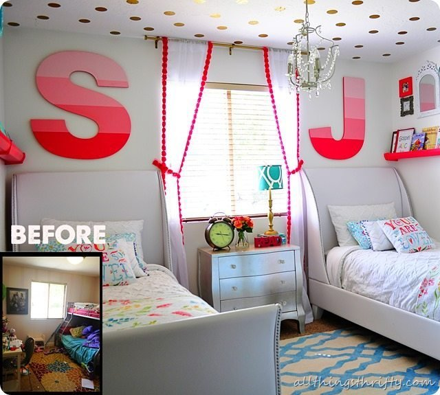 Best Coral Gold And Aqua Girl's Bedroom Reveal With Pictures