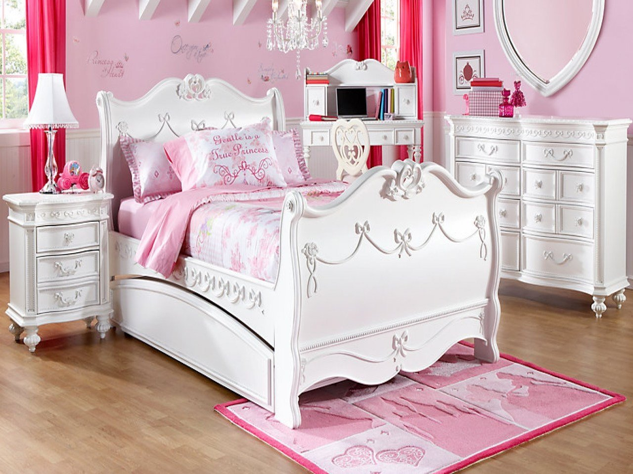 Best Rooms To Go Girls Disney Princess White Pc Twin Sleigh With Pictures