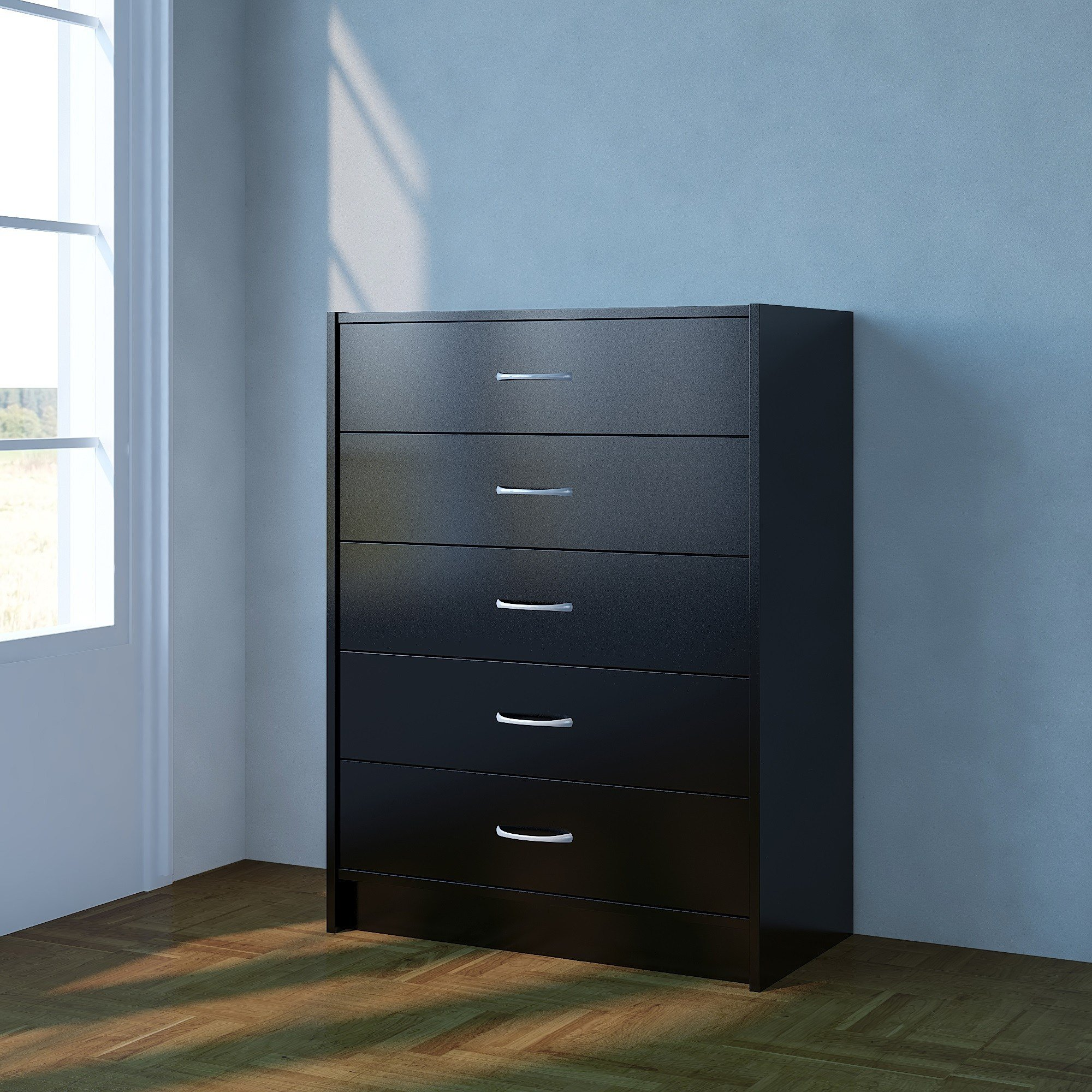 Best Chest Of Drawers Black Bedroom Furniture 5 Drawer Metal Handles Runners Ebay With Pictures