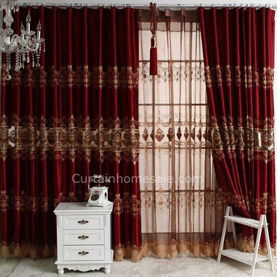 Best Burgundy Fancy Embroidered Window Curtains For Bedroom Or With Pictures