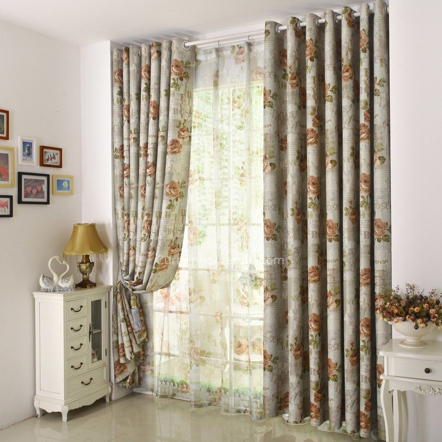 Best Gray Floral Print Polyester Insulated Country Bedroom Curtains With Pictures