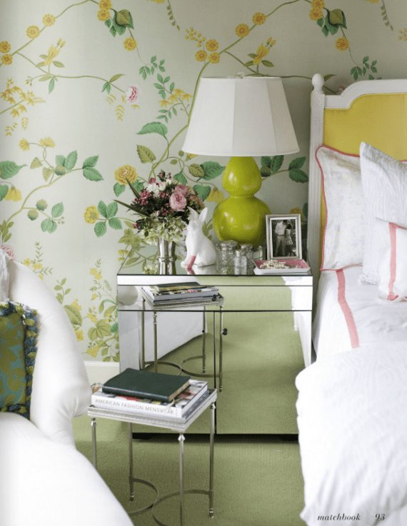 Best Green And Yellow Floral Wallpaper Bedroom Simplified Bee With Pictures